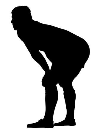 knees bent: Side Profile of Rugby Player Resting with hands on Knees Silhouette