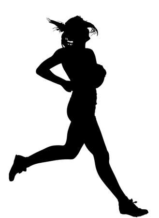 Side Profile of Speeding Female Track Runner Finishing Silhouette Vector