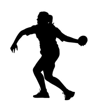 Side Profile of Girl Discus Thrower Turning to Throw Silhouette Illustration