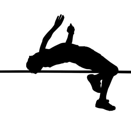 succeeding: Side Profile of Boy High Jumper Leaping Over Bar Silhouette