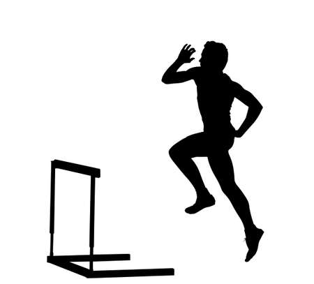 hurdles: Side Profile of Boy Hurdles Runner Ready for Jump Silhouette