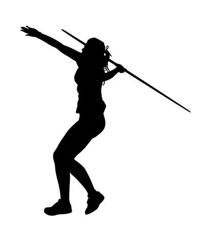 throw up: Side Profile of Girl Javelin Thrower Running up to Throw Silhouette