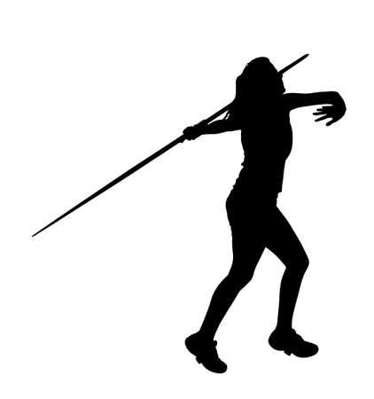 lanzamiento de jabalina: Perfil lateral de la muchacha del lanzador de jabalina Correr hasta Lanza Silueta