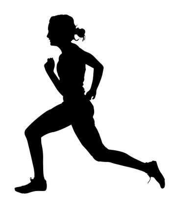 pista de atletismo: Perfil lateral de la Speeding Mujer Track Runner Silueta Vectores