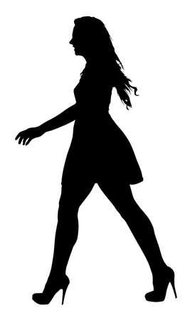 beauty pageant: Image of a Long Legged Teenage Girl Model Walking Silhouette  Illustration