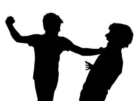 pelea: Imagen de los muchachos adolescentes en lucha del puño silueta