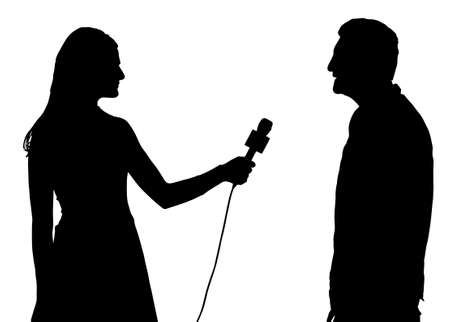 interviewer: Press Interview Conducted by Woman Interviewer Silhouette