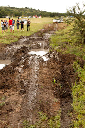 rustenburg: BAFOKENG - MARCH 8: 4x4 Muddy obstacle at Leroleng 4x4 track on March 8, 2014 in Bafokeng, Rustenburg, South Africa