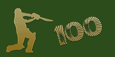 padded: Golden Century Cricket Banner on Green Background Stock Photo