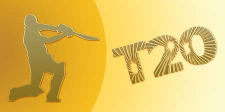 batsman: Golden T20 Cricket Banner on Golden Background