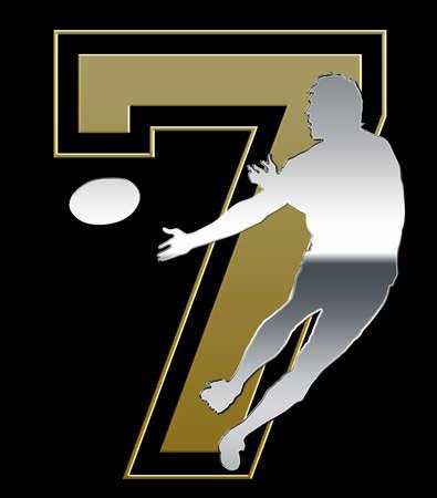 Silver and Golden Sevens Rugby Emblem on Black Background photo