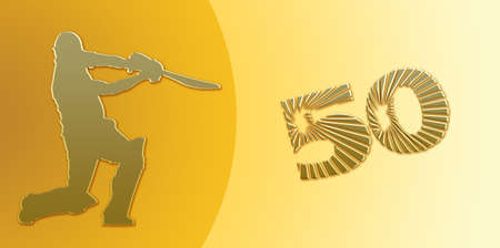 overs: Golden Half Century or Limited Overs Cricket Banner on Golden Background