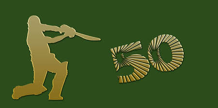 overs: Golden Half Century or Limited Overs Cricket Banner on Green Background