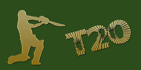 overs: Golden T20 Cricket Banner on Green Background Stock Photo