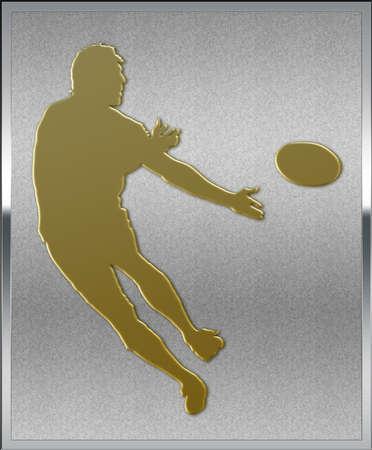 silver medal: Gold on Silver Rugby Sport Emblem or Medal