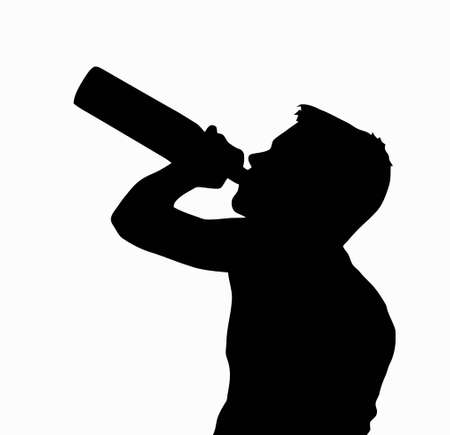 Teen Boy Silhouette Underage Drinking Alcohol from Bottle    Illustration