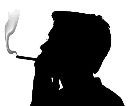 smoking cigarette: Teen Boy Silhouette Under Aged Smoking Cigarette Illustration