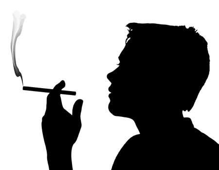 underage: Teen Boy Silhouette Under Aged Smoking Cigarette Illustration