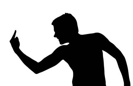 Teen Boy Silhouette Bully Showing Dirty Hand Gesture  Vector