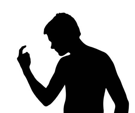 Teen Boy Silhouette Bully Calling with Curled Finger  Vector