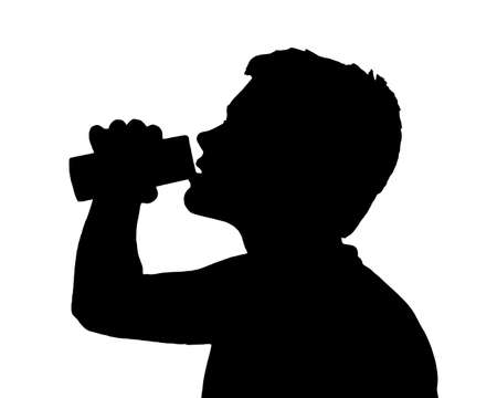 Teen Boy Silhouette Drinking Fluid from Can    Illustration