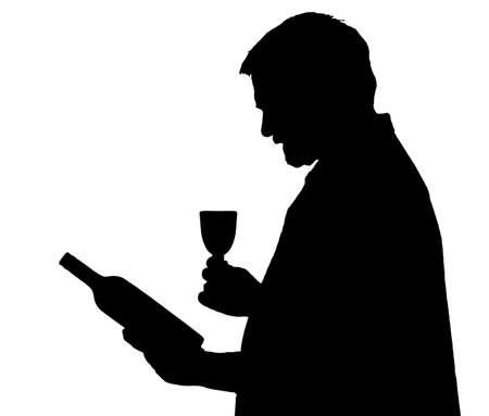 connaisseur: Man Silhouette Connoisseur Selezione di una bottiglia di vino