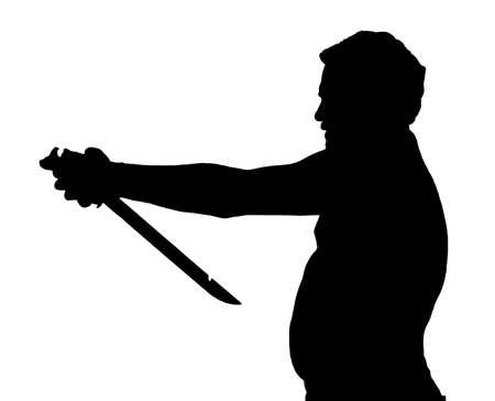 potbelly: Man Silhouette Stubby European Attempting Harakiri with a Samurai Sword