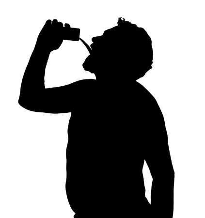 unacceptable: Man Silhouette Stubby European Drinking from a Can  Illustration