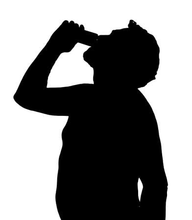 Man Silhouette Stubby European Drinking from a Can Stock Vector - 27583779