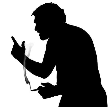 Man Silhouette Arguing Stubby European Smoking Cigarette Stock Vector - 27583784