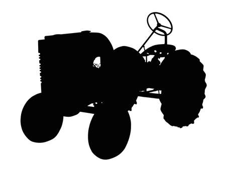 agronomics: Detailed Silhouette of a Vintage Small Tractor    Illustration