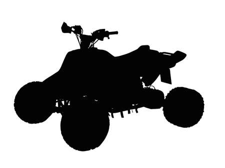 Standing Quad Bike ATV Isolated Silhouette on White Vector