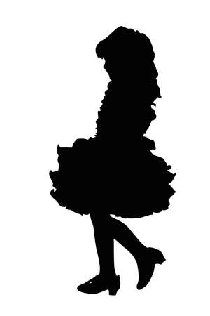 beauty pageant: Detailed Silhouette of Cute Little Girl at Beauty Pageant