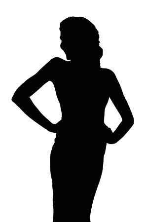 pageant: Detailed Silhouette of Slim Girl Posing at Beauty Pageant