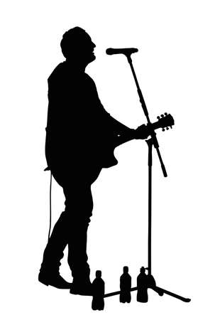 the vocalist: Male Vocalist Singing into Microphone with Guitar Silhouette Illustration