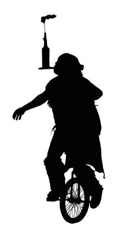 Detailed Silhouette of Man Doing Balancing Trick on Unicycle   Vector