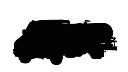Medium Size Water or Fuel Truck Isolated Silhouette   Illustration
