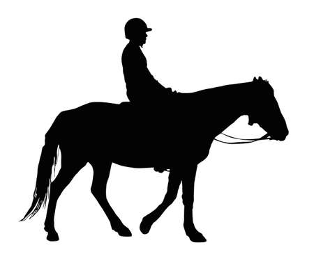 Detailed Silhouette of Boy with Protective Helmet Riding Horse    Ilustracja
