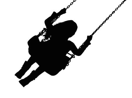child protection: Detailed Silhouette of Small Girl on Amusement Park Swing  Illustration