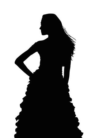 Detailed Silhouette of Slim Girl Posing at Beauty Pageant