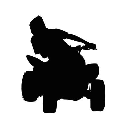Boy Racing on Quad Bike Through Corner Silhouette Vector