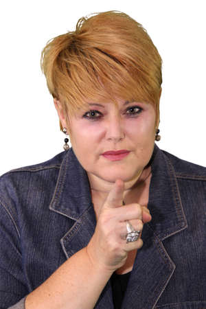 'body language': Mature Woman Body Language Expressions - Finger Pointing Accusing Stock Photo