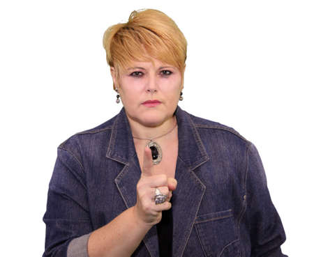 'body language': Mature Woman Body Language Expressions - Finger Pointing Angry Warning Stock Photo