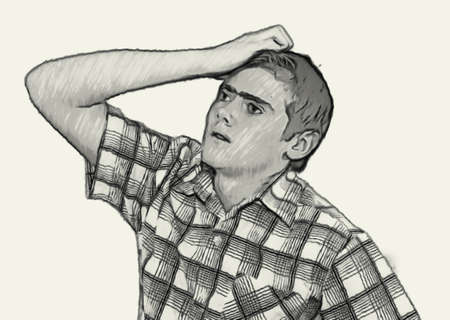 teenaged boys: Sketch Teen boy body language expressions - Holding Head Thinking