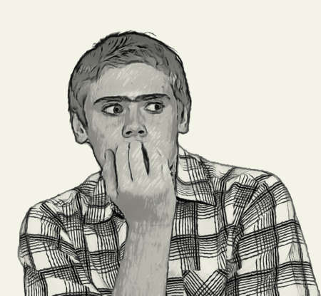 teenaged boys: Sketch Teen boy body language expressions - Nervous biting nails