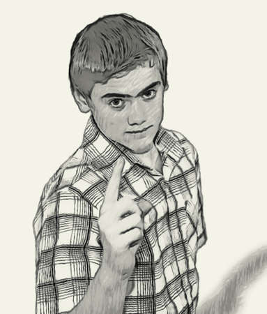 teenaged boys: Sketch Teen boy body language expressions - Finger Pointing Warning