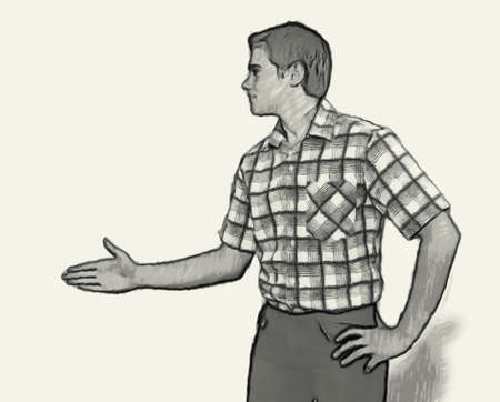 teenaged boys: Sketch Teen boy body language expressions - Extended Hand Greeting