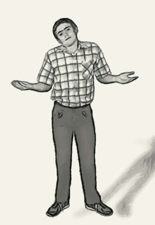 don't care: Sketch Teen boy body language expressions - Shoulder Shrugging Do Not Care