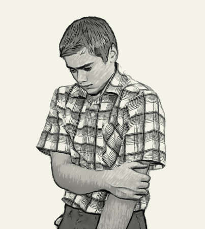 Sketch Teen boy body language expressions - Shy Timid Unconfident Banque d'images