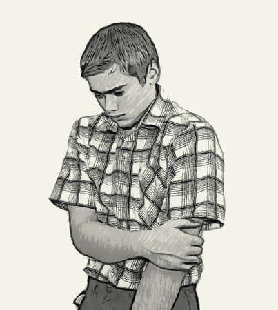 Sketch Teen boy body language expressions - Shy Timid Unconfident Archivio Fotografico